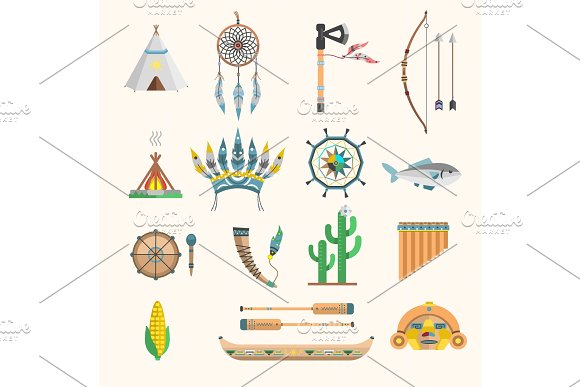 Vector Indian Boho Icons Elements Traditional Concept And Native Tribal Ethnic Feather Culture Indian Ornament Design Illustration Vintage Aztec People Decoration