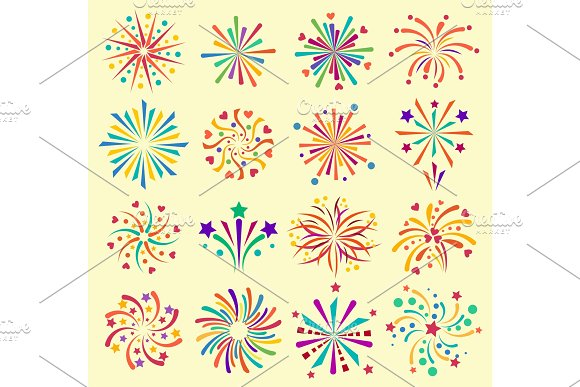 Vector Firework Icons Celebration Holiday Event Night New Year Fire Festival Explosion Illustration Light Festive Party Fun Birthday Fire Sparkle Bright Pyrotechnics Rocket Explode Collection