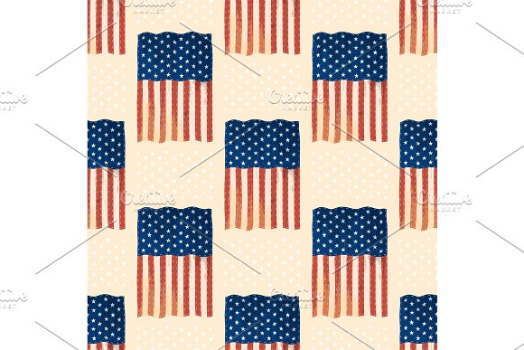 Independence Day USA Flags United States American Symbol Freedom National Emblem Seamless Pattern Background Vector Illustration