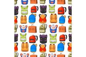 Back to School kids backpack vector illustration work time education baggage rucksack learning luggage seamless pattern background.