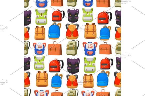 Back To School Kids Backpack Vector Illustration Work Time Education Baggage Rucksack Learning Luggage Seamless Pattern Background