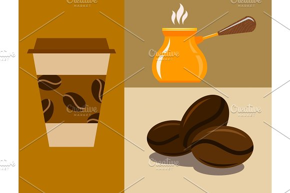 Coffee Cup Coffeemaker Coffeepot Takeaway Beverage Vector Texture Drink Food Illustration