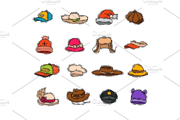 Different Holiday Carnaval Hat Fashion Accessory Party Celebration For Masquerad Clothing Vector Illustration