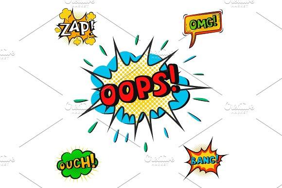 Pop Art Comic Speech Bubble Boom Effects Vector Explosion Bang Communication Cloud Fun Humor Book Splash Illustration