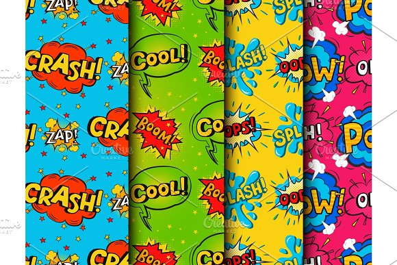Pop Art Comic Speech Bubble Boom Effects Vector Explosion Bang Communication Cloud Fun Humor Book Splash Seamless Pattern Background Illustration