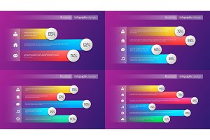 Easy editable vector 3 4 5 6 options infographic designs, bar ch