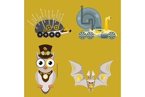 Stylized metal steampunk mechanic robots animals machine steam gear insect punk art machinery vector illustration.