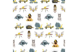 Stylized metal steampunk mechanic robots animals machine steam gear insect punk art machinery seamless pattern background vector illustration.