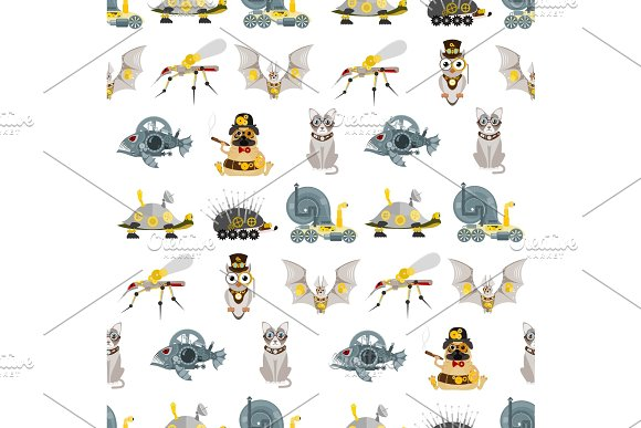 Stylized Metal Steampunk Mechanic Robots Animals Machine Steam Gear Insect Punk Art Machinery Seamless Pattern Background Vector Illustration