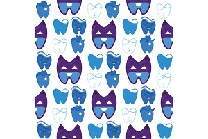 Vector dental label protection template illustration stomatology mouth graphic oral element seamless pattern background