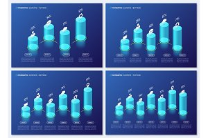 Modern isometric infographic designs, charts, templates, concept