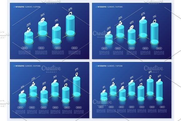 Modern Isometric Infographic Designs Charts Templates Concept