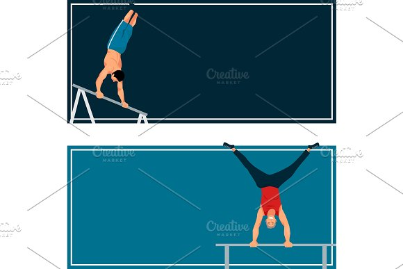 Horizontal Bar Chin-up Strong Athlete Man Cards Gym Exercise Street Workout Tricks Muscular Fitness Sport Pulling Up Character Vector Illustration