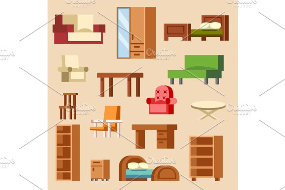 Vector Home Interior Furniture Furnishings Design Of Bedroom With Furnished Interior Of Apartment And Furnishing Room Sofa Armchair House Chair Set Illustration Isolated On Background