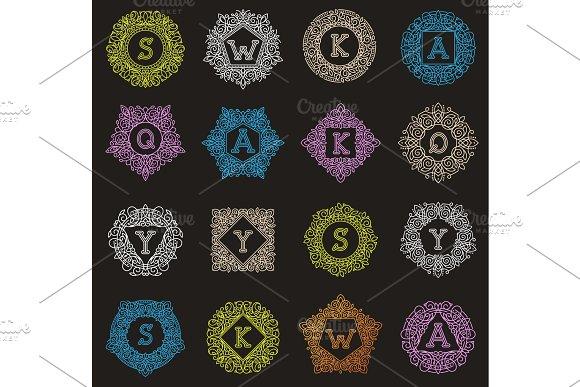 Vector Monogram Letter Emblem Vintage Letters Ornamental Design Sign Floral Elegant Mono Lable Frame Decorative Personal Name Branding Or Wedding Icon Illustration