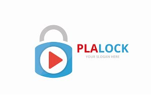 Vector button play and lock logo