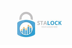 Vector graph and lock logo