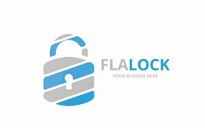 Vector lock logo combination.