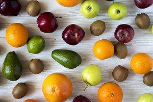 Set of fresh raw fruits on white