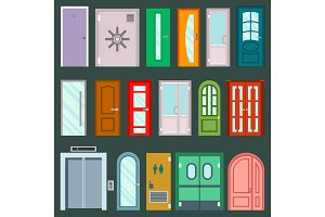 Vector doors design furniture elements doorway front entrance to house building in flat style doorstep illustration isolated on background. House elements