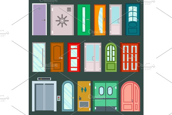 Vector Doors Design Furniture Elements Doorway Front Entrance To House Building In Flat Style Doorstep Illustration Isolated On Background House Elements