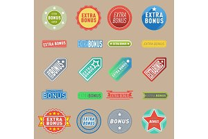 Super extra bonus vector labels banners text color business shopping concept. Internet promotion shopping extra bonus labels. Extra-bonus labels advertising discount marketing