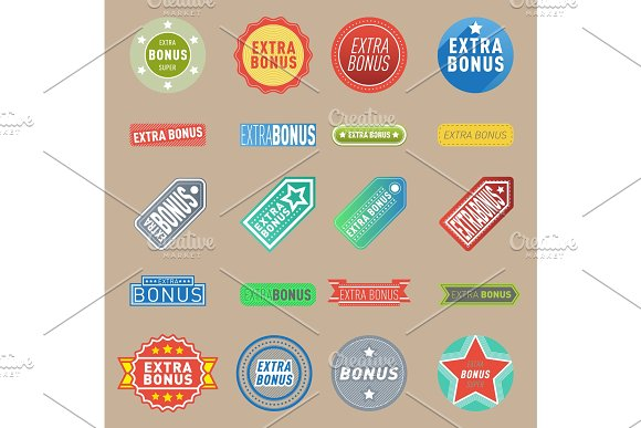 Super Extra Bonus Vector Labels Banners Text Color Business Shopping Concept Internet Promotion Shopping Extra Bonus Labels Extra-bonus Labels Advertising Discount Marketing
