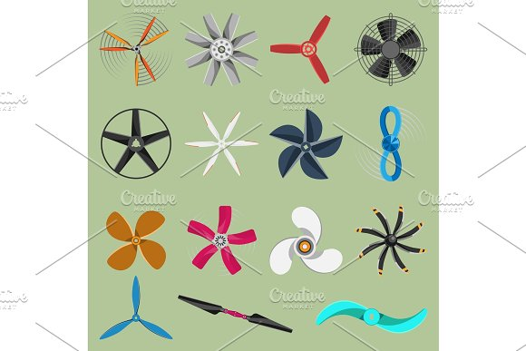 Vector Fans Propellers Icons Isolated Object Propeller Fan Icons Cool Ventilation Ship Symbol Retro Cooler Boat Equipment Ventilator Symbol Wind Equipment Propeller Fan Icons