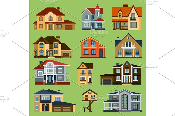 City Town House Vector Facade Face Side Street View City Modern World House Building Cartoon Architecture Illustration Cottage Residential Construction Cityscape Houses