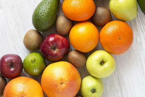 Set of raw fruits with copy space