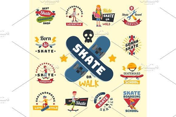 Skateboarders People Tricks Silhouettes Sport Badge Extreme Action Active Skateboarding Urban Young Jump Person Vector Illustration
