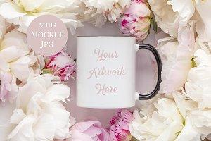 Mug Mockup with Black Handle-Peonies