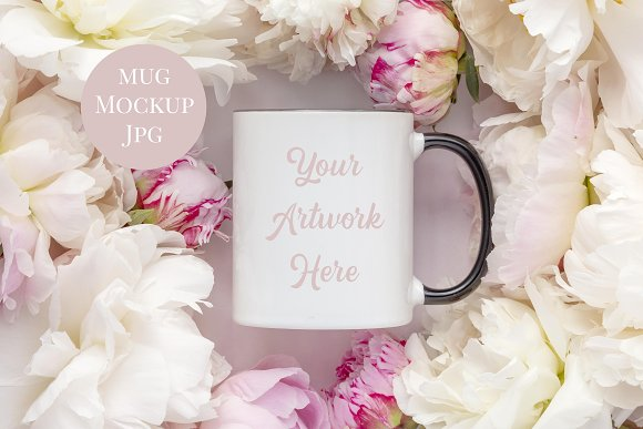 Mug Mockup With Black Handle-Peonies