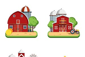 Farm isolated decorative icons set