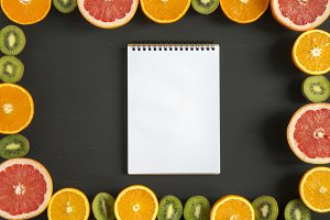 Flat lay. Top view. Notebook with