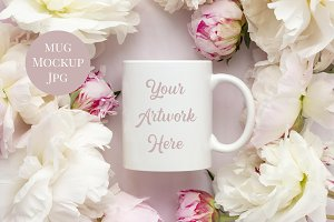 Mug Mockup - Pink Peonies