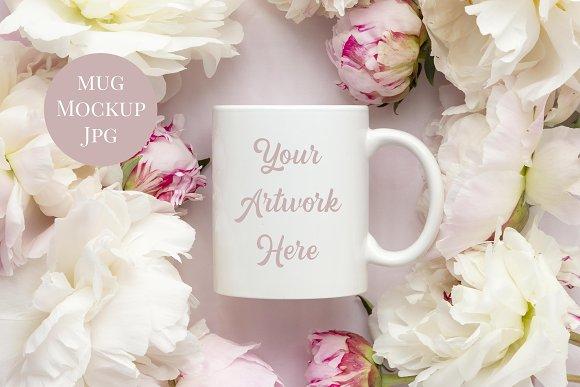 Mug Mockup Pink Peonies
