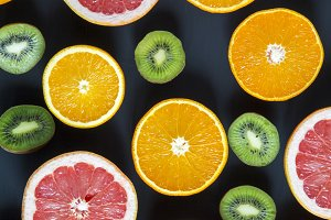 Flat lay. Top view. Sliced colorful