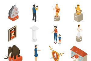 Historical museum isometric icons