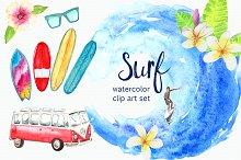 Watercolor Surf Clip Art Set