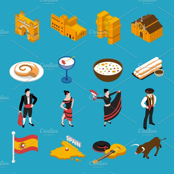 Touristic Spain Isometric Icons Set