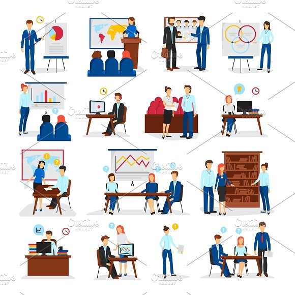 Business Training Flat Icons Set