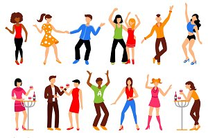 Dancing people at disco party icons