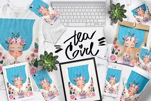 Floral Tea Girl Illustration