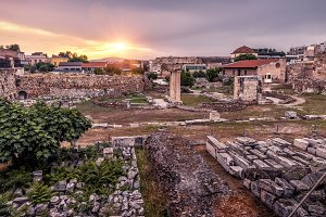 Library of Hadrian at sunset