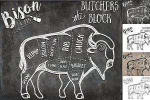 Bison Butcher Cuts Set 1