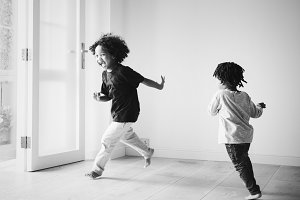 African boys playing in new house