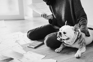 Woman managing her growing debt