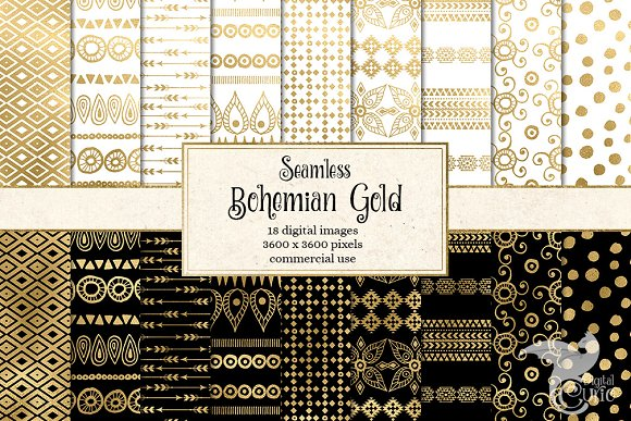 Bohemian Gold Digital Paper