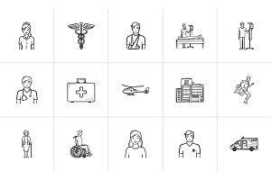 Medicine hand drawn outline doodle icon set.